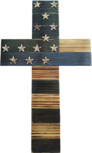 The Thin Blue Line Handcrafted Wooden Cross