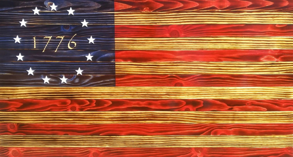 Betsy Ross Handcrafted Wooden Flag
